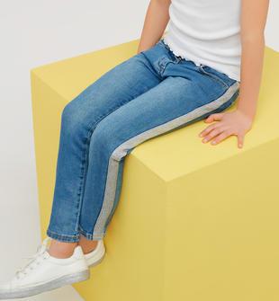 Pantalone bambina in denim di cotone stretch ido STONE WASHED CHIARO-7400