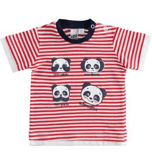 T-shirt 100% cotone con panda ido ROSSO-2256