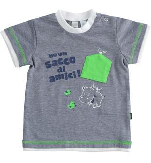 T-shirt 100% cotone fantasia microriga ido NAVY-3547