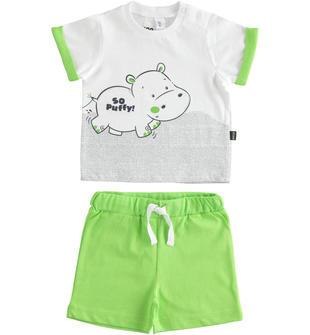 Completo 100% cotone t-shirt con ippopotamo e pantaloncino corto ido BIANCO-VERDE-8036