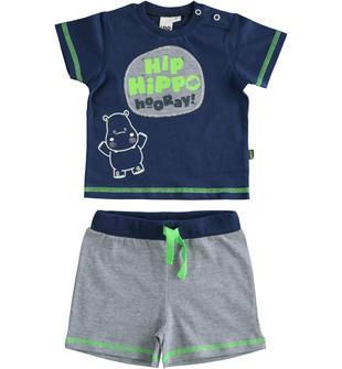 Completo 100% t-shirt con ippopotamo e pantalone corto ido NAVY-3547