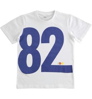 T-shirt 100% cotone con macro grafica ido BIANCO-0113
