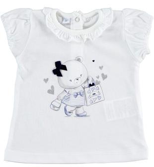T-shirt con orsetto illuminato da glitter ido BIANCO-0113