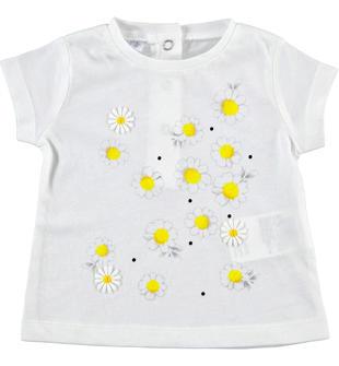T-shirt 100% cotone con margherite ido BIANCO-0113