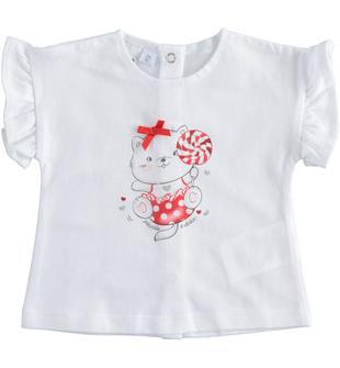 Tenera t-shirt 100% cotone con orsetto ido BIANCO-0113