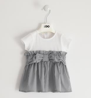 Particolare abito in cotone con gonna rigata ido BIANCO-BLU-8020