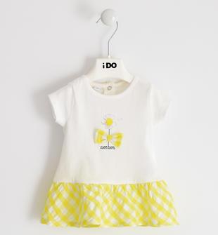 Allegro e colorato abito 100% cotone con margherita ido BIANCO-GIALLO-8037