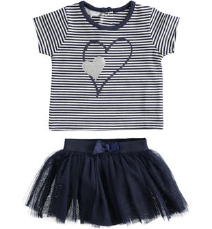 Completo t-shirt e gonna in tulle ido BLU-BIANCO-8004