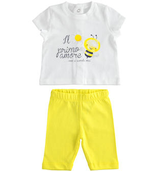 Completo 100% cotone t-shirt con ape e leggings ido BIANCO-GIALLO-8037
