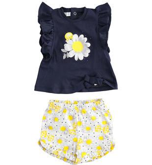 Completo in cotone t-shirt e shorts ido BLU-GIALLO-8040