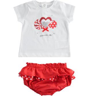 Completo t-shirt con lecca lecca e mutandina ido BIANCO-ROSSO-8025