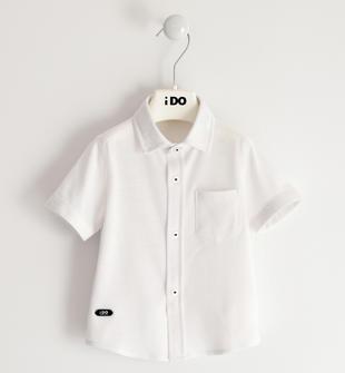 Camicia bambino a manica corta in comodo piquet misto cotone ido BIANCO-0113
