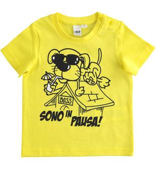 T-shirt manica corta bambino 100% cotone con grafica cagnolino ido GIALLO-1434