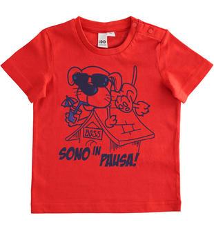 T-shirt manica corta bambino 100% cotone con grafica cagnolino ido ROSSO-2235