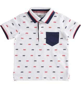 Polo in jersey 100% cotone con stampa autobus ido BIANCO-BLU-6MP9