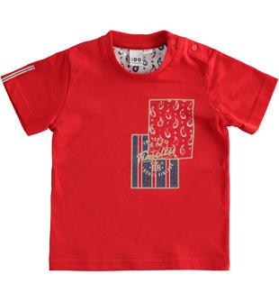 T-shirt 100% cotone con stampa rettangolare ido ROSSO-2256