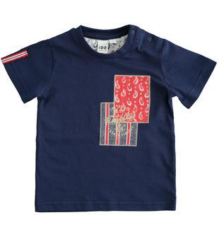 T-shirt 100% cotone con stampa rettangolare ido NAVY-3547