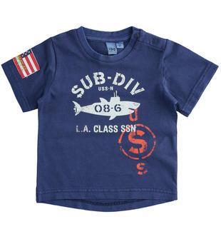 Grintosa t-shirt stampa sub ido NAVY-3547