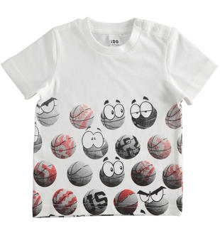 T-shirt bambino a manica corta 100% cotone ido BIANCO-0113