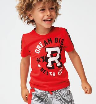 T-shirt bambino manica corta 100% cotone con tape ido ROSSO-2235