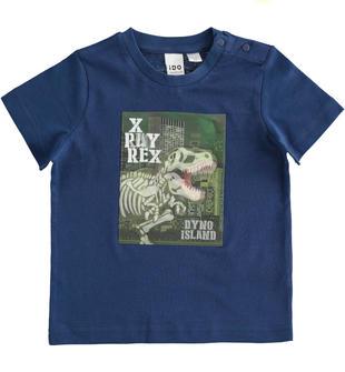T-shirt bambino a manica corta 100% cotone con ologramma dinosauro ido NAVY-3547