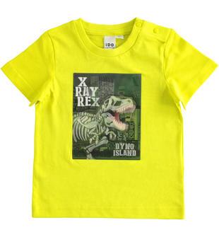 T-shirt bambino a manica corta 100% cotone con ologramma dinosauro ido VERDE-5243
