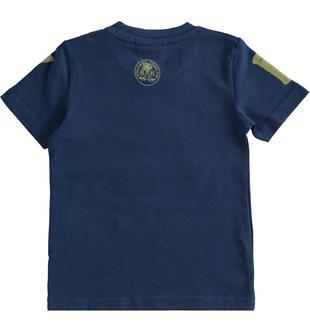 Grintosa e colorata t-shirt 100% cotone con numero ido NAVY-3547