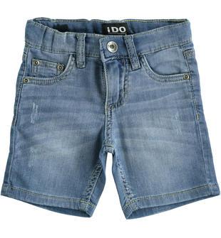 Comodo bermuda bambino in denim maglia in cotone stretch ido STONE BLEACH-7350