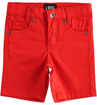Pantalone corto in twill stretch con vita regolabile ido ROSSO-2235