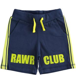 Pantalone corto in jersey 100% cotone con costina laterale ido NAVY-3547