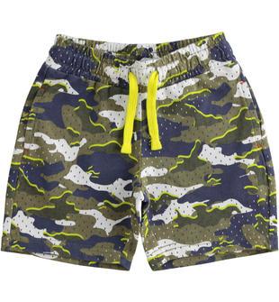 Bermuda bambino 100% cotone con stampa camouflage all over ido BIANCO-BLU-6MS7