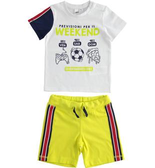 Completo bambino 100% cotone con t-shirt a manica corta ido BIANCO-VERDE ACIDO-8121