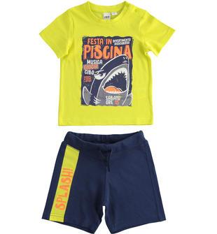 Completo bambino 100% cotone con t-shirt a manica corta grafica squalo ido VERDE-BLU-8014