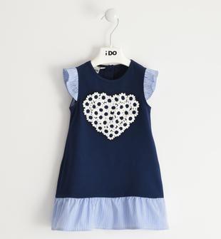 Abito bambina in jersey di cotone stretch con maniche ad aletta ido NAVY-3854