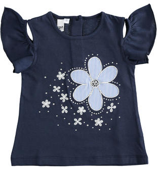 T-shirt bambina in jersey 100% cotone maxi ricamo ido NAVY-3854
