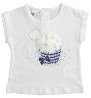 T-shirt bambina manica corta 100% cotone stampa monocromatica ido BIANCO-0113