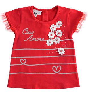 T-shirt con applicazione di fiori ido ROSSO-2256