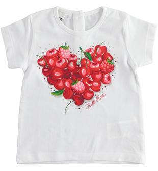 Comoda t-shirt bambina manica corta in cotone stretch con strass ido BIANCO-0113