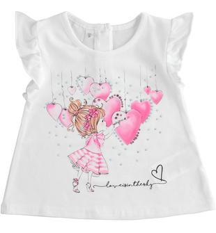 T-shirt in cotone con maniche ad aletta e vestibilità a trapezio ido BIANCO-0113