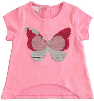 T-shirt bambina mezza manica in cotone stretch taglio vivo ido ROSA BUBBLE-2421