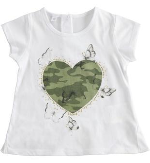 T-shirt 100% cotone con stampe diverse ido BIANCO-0113