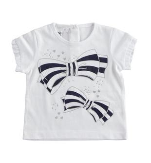 T-shirt bambina mezza manica 100% cotone stampa fiocchi e strass ido BIANCO-0113