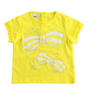 T-shirt bambina mezza manica 100% cotone stampa fiocchi e strass ido GIALLO-1434