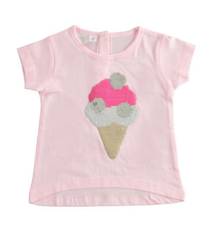 T-shirt 100% cotone con gelato di paillettes ido ROSA-2411