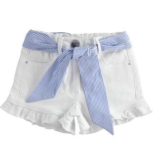 Shorts bambina in twill leggero di cotone stretch ido BIANCO-0113