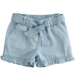 Shorts bambina in chambray leggero 100% cotone ido BLU CHIARO LAVATO-7310