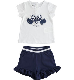 Completo bambina in cotone con t-shirt cuori e strass e shorts ido BIANCO-BLU-8216