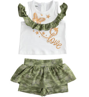 Completo t-shirt e gonna pantalone camouflage ido BIANCO-VERDE-8036
