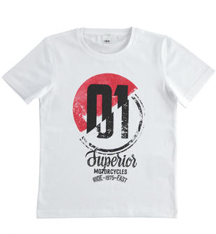 T-shirt 100% cotone per bambino con grafiche diverse ido BIANCO-0113