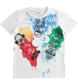 T-shirt bambino 100% cotone a manica corta con grafica effetti di colore spruzzato ido BIANCO-0113